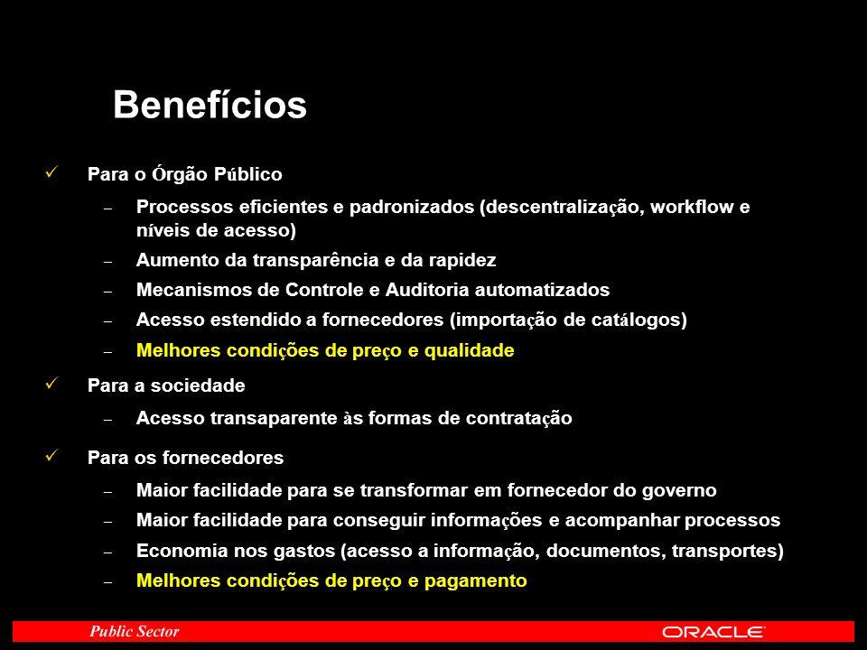 Benefícios Para o Ó rgão P ú blico – Processos eficientes e padronizados (descentraliza ç ão, workflow e n í veis de acesso) – Aumento da transparênci