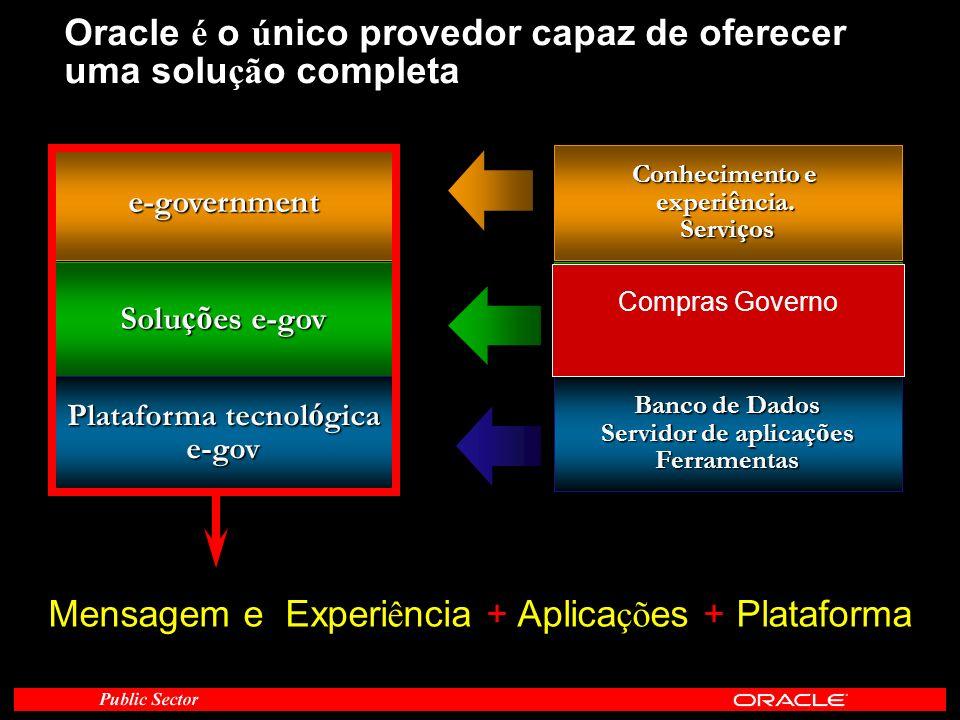 Oracle é o ú nico provedor capaz de oferecer uma solu çã o completa e-government Conhecimento e experi ê ncia. Servi ç os Solu çõ es e-gov Conjunto de