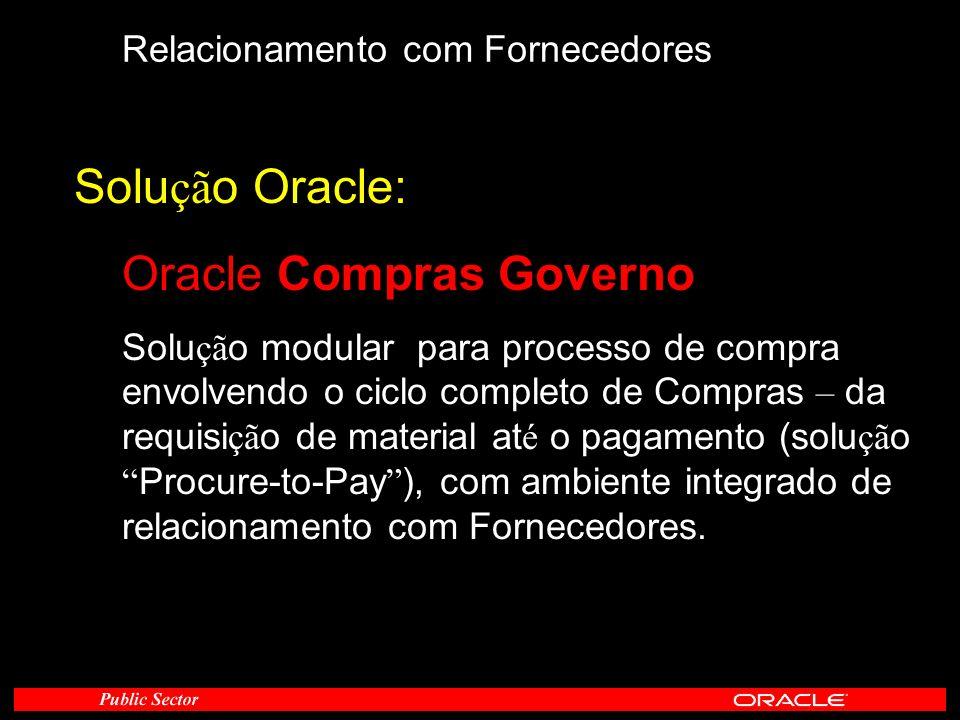 Relacionamento com Fornecedores Solu çã o Oracle: Oracle Compras Governo Solu çã o modular para processo de compra envolvendo o ciclo completo de Comp