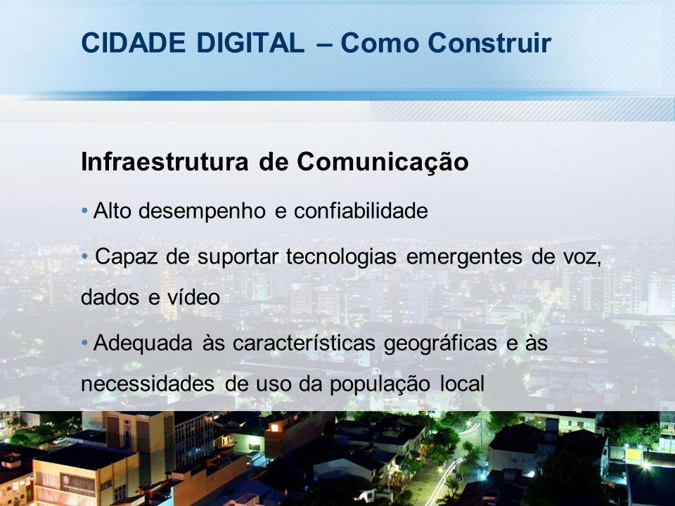 CIDADE DIGITAL – Como Construir Infraestrutura de Comunicação Alto desempenho e confiabilidade Capaz de suportar tecnologias emergentes de voz, dados e vídeo Adequada às características geográficas e às necessidades de uso da população local