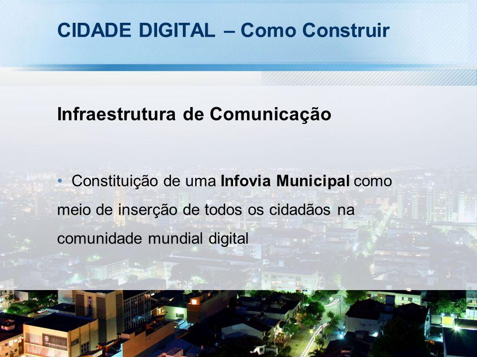 CIDADE DIGITAL – Como Construir Infraestrutura de Comunicação Constituição de uma Infovia Municipal como meio de inserção de todos os cidadãos na comunidade mundial digital