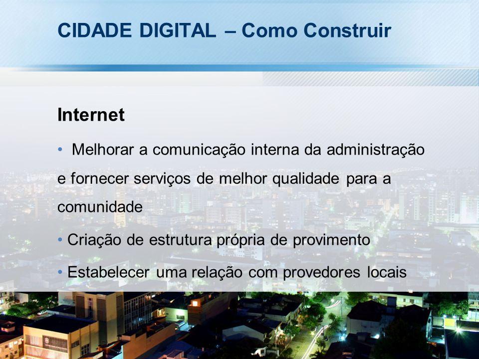 CIDADE DIGITAL – Como Construir Internet Melhorar a comunicação interna da administração e fornecer serviços de melhor qualidade para a comunidade Criação de estrutura própria de provimento Estabelecer uma relação com provedores locais
