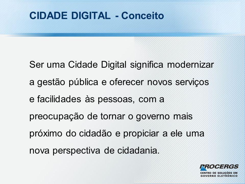 CIDADE DIGITAL - Conceito Ser uma Cidade Digital significa modernizar a gestão pública e oferecer novos serviços e facilidades às pessoas, com a preocupação de tornar o governo mais próximo do cidadão e propiciar a ele uma nova perspectiva de cidadania.