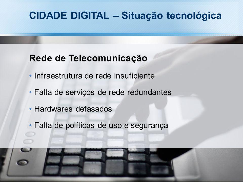 CIDADE DIGITAL – Situação tecnológica Rede de Telecomunicação Infraestrutura de rede insuficiente Falta de serviços de rede redundantes Hardwares defasados Falta de políticas de uso e segurança