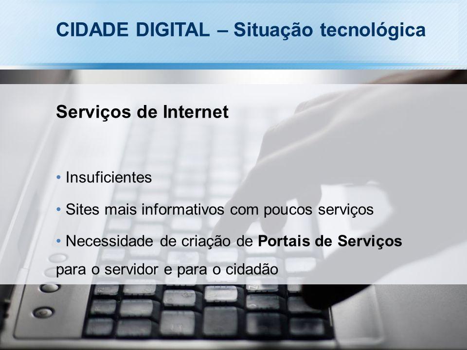 CIDADE DIGITAL – Situação tecnológica Serviços de Internet Insuficientes Sites mais informativos com poucos serviços Necessidade de criação de Portais de Serviços para o servidor e para o cidadão