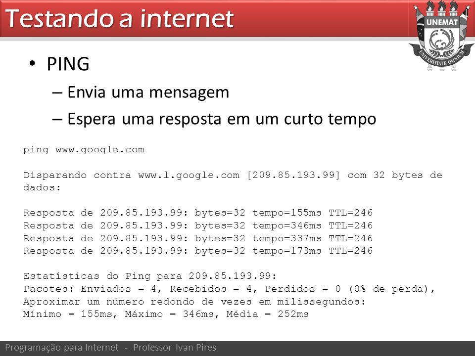 PING – Envia uma mensagem – Espera uma resposta em um curto tempo Testando a internet Programação para Internet - Professor Ivan Pires ping www.google.com Disparando contra www.l.google.com [209.85.193.99] com 32 bytes de dados: Resposta de 209.85.193.99: bytes=32 tempo=155ms TTL=246 Resposta de 209.85.193.99: bytes=32 tempo=346ms TTL=246 Resposta de 209.85.193.99: bytes=32 tempo=337ms TTL=246 Resposta de 209.85.193.99: bytes=32 tempo=173ms TTL=246 Estatísticas do Ping para 209.85.193.99: Pacotes: Enviados = 4, Recebidos = 4, Perdidos = 0 (0% de perda), Aproximar um número redondo de vezes em milissegundos: Mínimo = 155ms, Máximo = 346ms, Média = 252ms