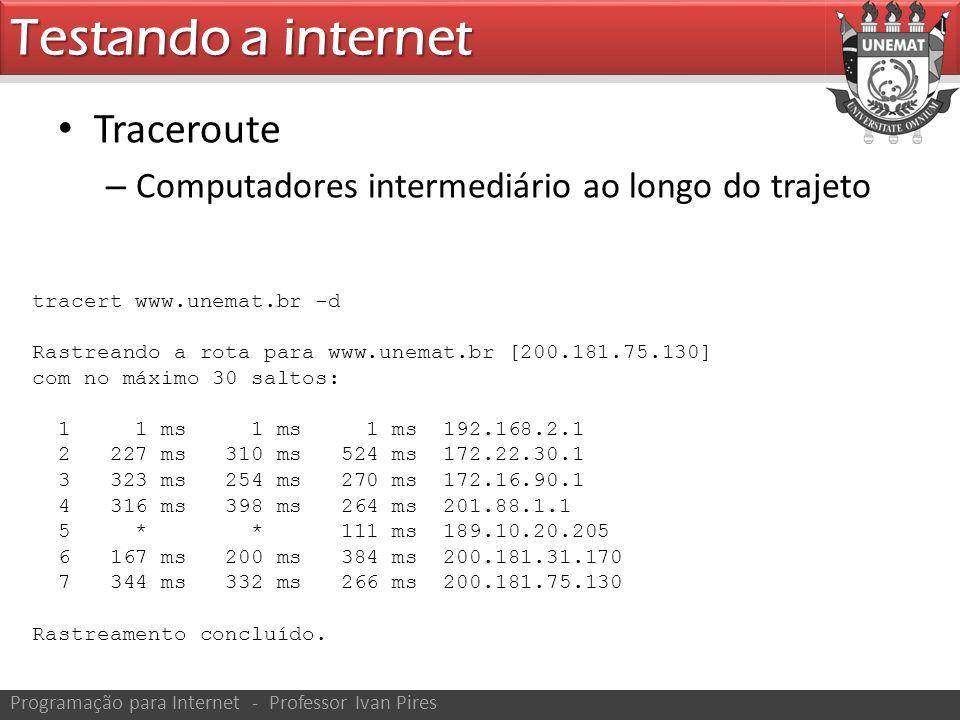 Traceroute – Computadores intermediário ao longo do trajeto Testando a internet Programação para Internet - Professor Ivan Pires tracert www.unemat.br