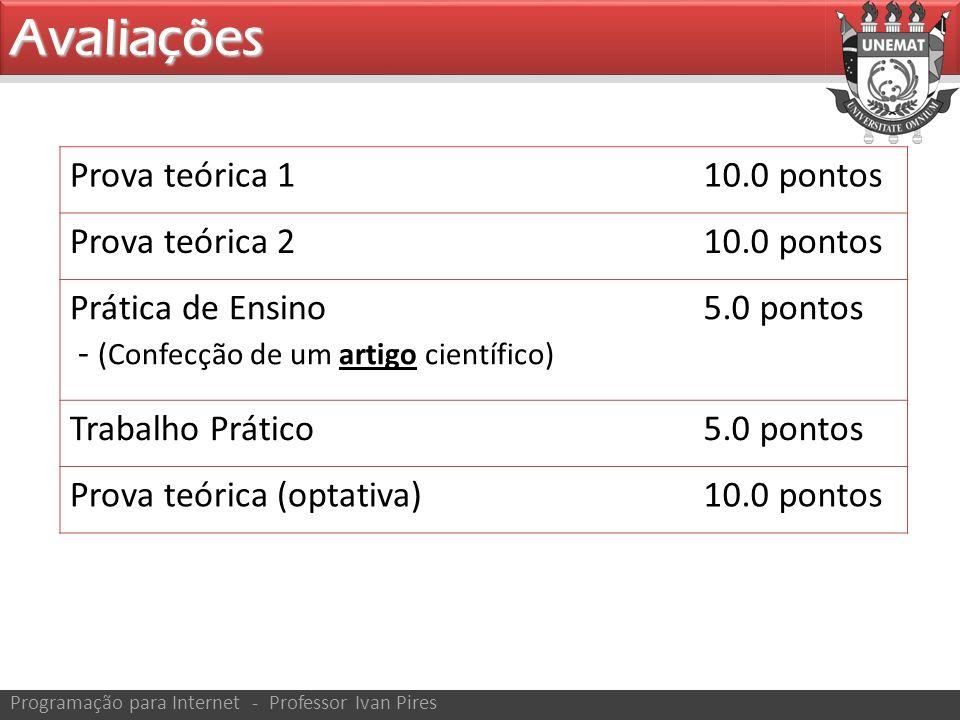 Avaliações Prova teórica 110.0 pontos Prova teórica 210.0 pontos Prática de Ensino - (Confecção de um artigo científico) 5.0 pontos Trabalho Prático5.0 pontos Prova teórica (optativa)10.0 pontos
