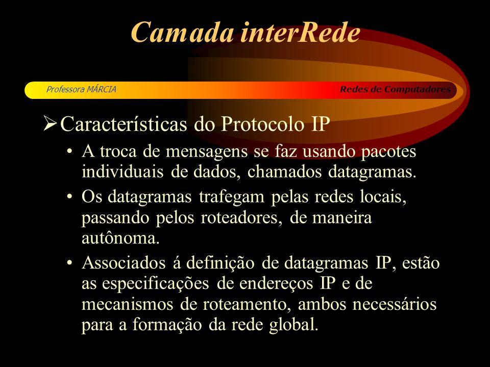Redes de Computadores Professora MÁRCIA Camada interRede Características do Protocolo IP A troca de mensagens se faz usando pacotes individuais de dad