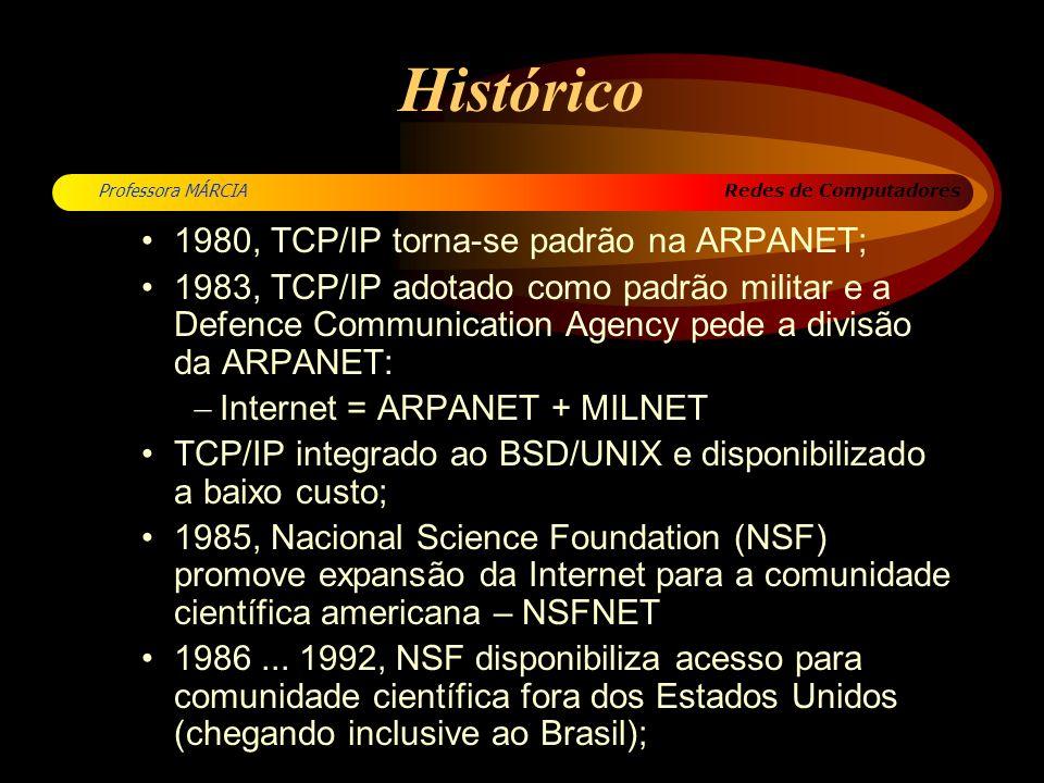 Redes de Computadores Professora MÁRCIA Histórico 1980, TCP/IP torna-se padrão na ARPANET; 1983, TCP/IP adotado como padrão militar e a Defence Commun
