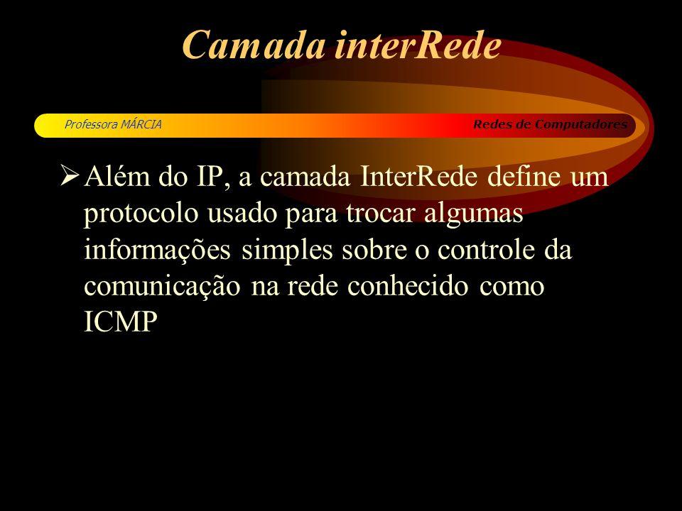 Redes de Computadores Professora MÁRCIA Camada interRede Além do IP, a camada InterRede define um protocolo usado para trocar algumas informações simp