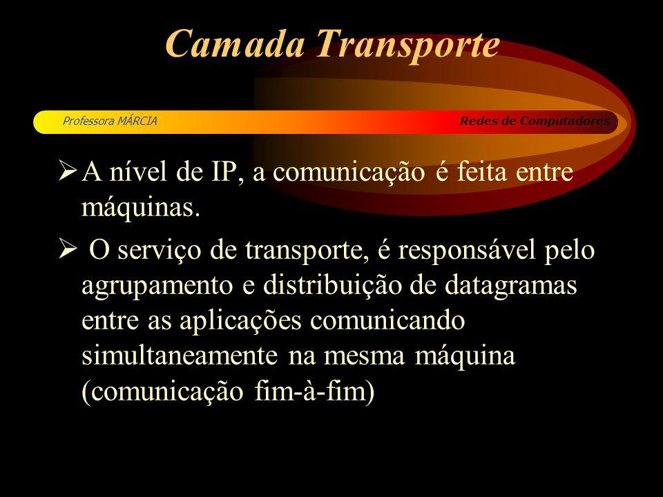 Redes de Computadores Professora MÁRCIA Camada Transporte A nível de IP, a comunicação é feita entre máquinas. O serviço de transporte, é responsável