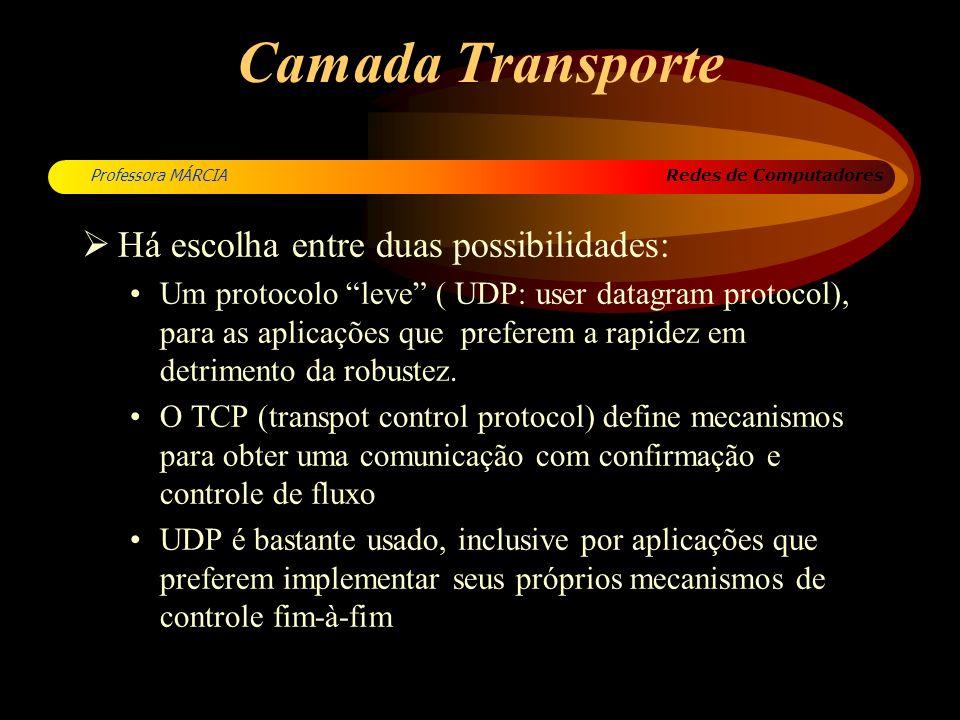 Redes de Computadores Professora MÁRCIA Camada Transporte Há escolha entre duas possibilidades: Um protocolo leve ( UDP: user datagram protocol), para