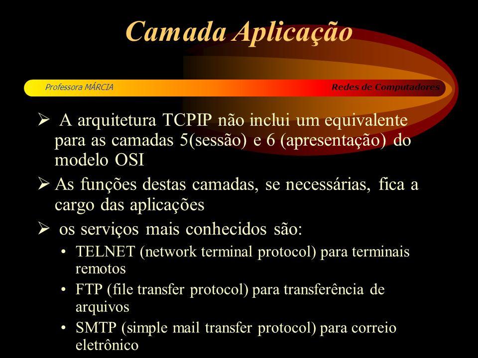 Redes de Computadores Professora MÁRCIA Camada Aplicação A arquitetura TCPIP não inclui um equivalente para as camadas 5(sessão) e 6 (apresentação) do