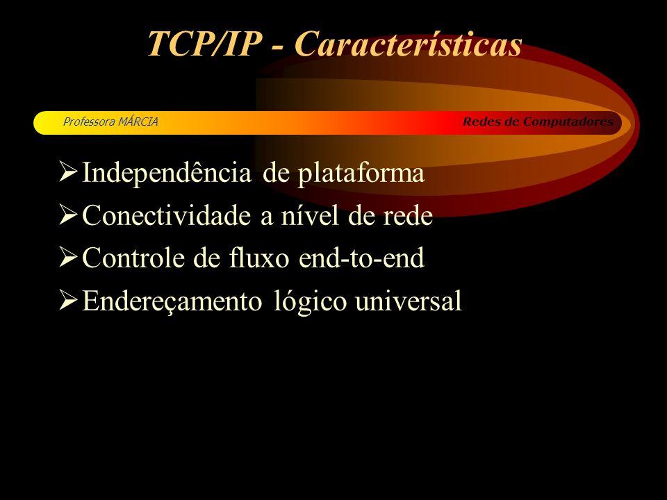 Redes de Computadores Professora MÁRCIA TCP/IP - Características Independência de plataforma Conectividade a nível de rede Controle de fluxo end-to-en
