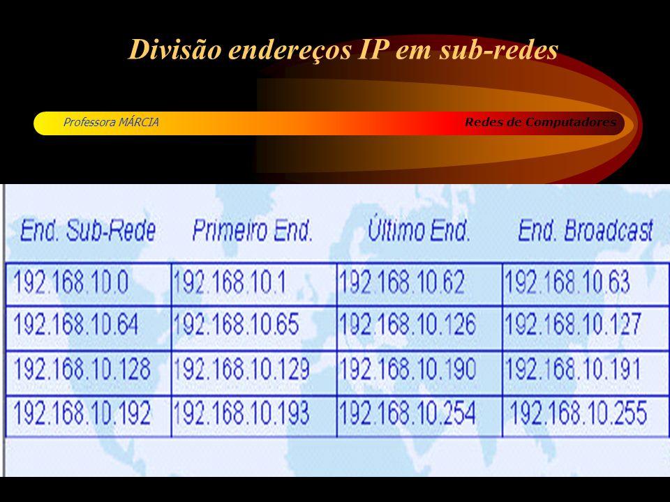 Redes de Computadores Professora MÁRCIA Divisão endereços IP em sub-redes