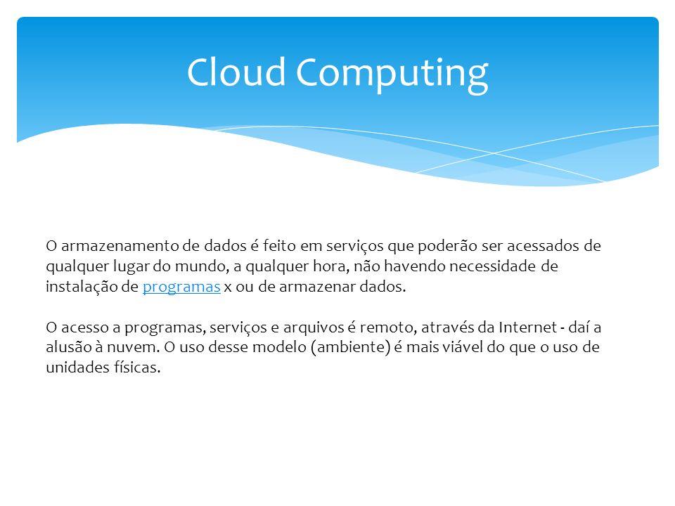 Cloud Computing O armazenamento de dados é feito em serviços que poderão ser acessados de qualquer lugar do mundo, a qualquer hora, não havendo necess