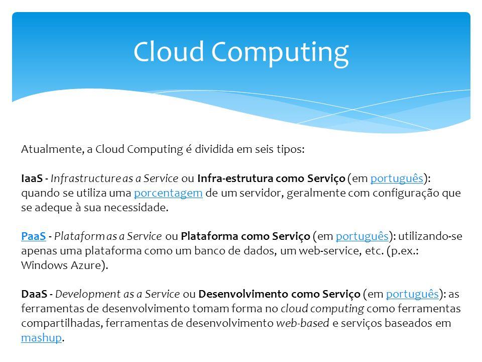 Cloud Computing Atualmente, a Cloud Computing é dividida em seis tipos: IaaS - Infrastructure as a Service ou Infra-estrutura como Serviço (em portugu