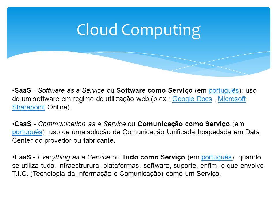 Cloud Computing SaaS - Software as a Service ou Software como Serviço (em português): uso de um software em regime de utilização web (p.ex.: Google Do