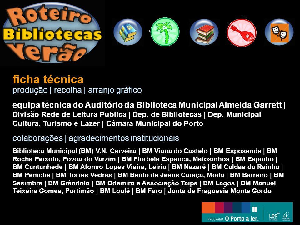 ficha técnica produção | recolha | arranjo gráfico equipa técnica do Auditório da Biblioteca Municipal Almeida Garrett | Divisão Rede de Leitura Publi