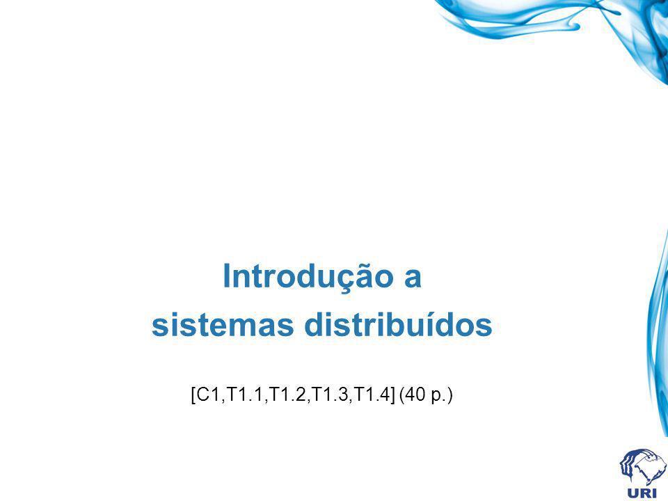 Introdução a sistemas distribuídos [C1,T1.1,T1.2,T1.3,T1.4] (40 p.)