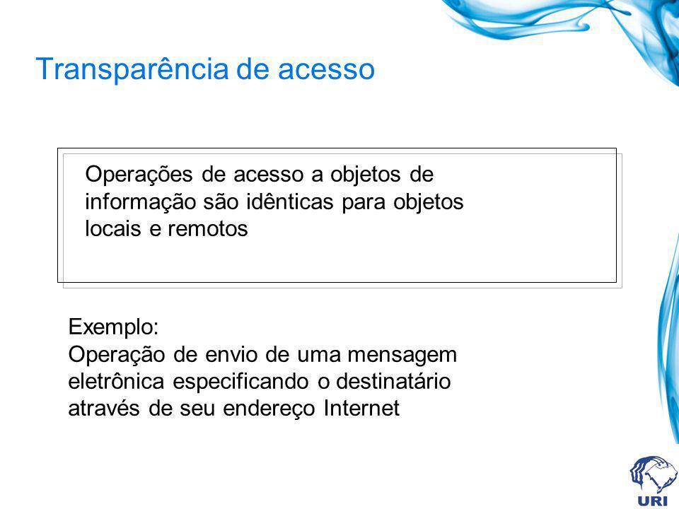 Transparência de acesso Operações de acesso a objetos de informação são idênticas para objetos locais e remotos Exemplo: Operação de envio de uma mens