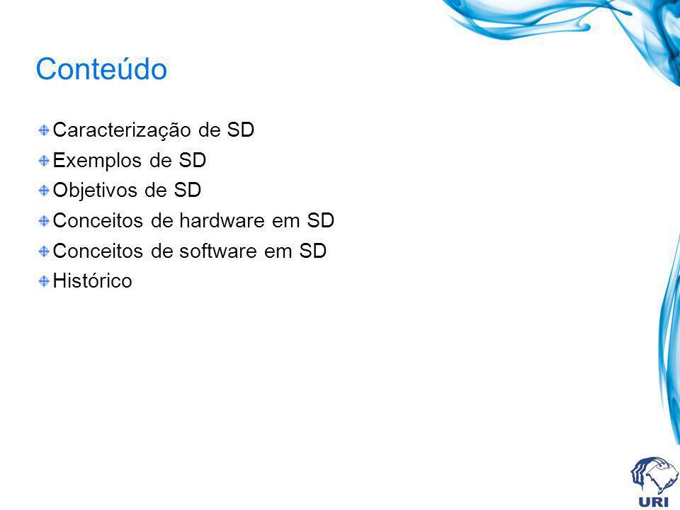 Conteúdo Caracterização de SD Exemplos de SD Objetivos de SD Conceitos de hardware em SD Conceitos de software em SD Histórico