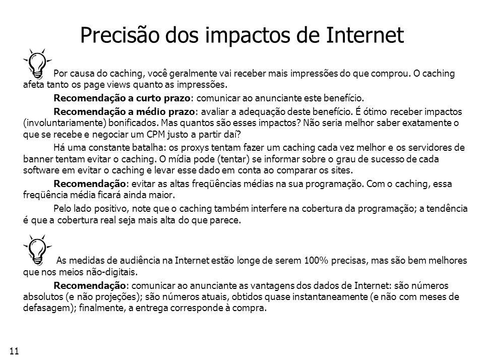 11 Precisão dos impactos de Internet Por causa do caching, você geralmente vai receber mais impressões do que comprou.