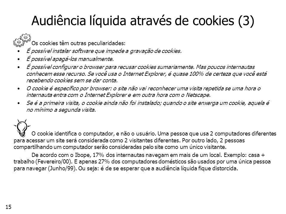 15 Audiência líquida através de cookies (3) Os cookies têm outras peculiaridades: É possível instalar software que impede a gravação de cookies.