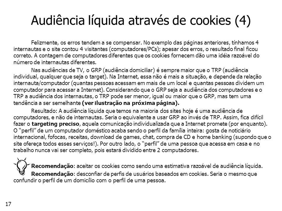 17 Audiência líquida através de cookies (4) Felizmente, os erros tendem a se compensar.
