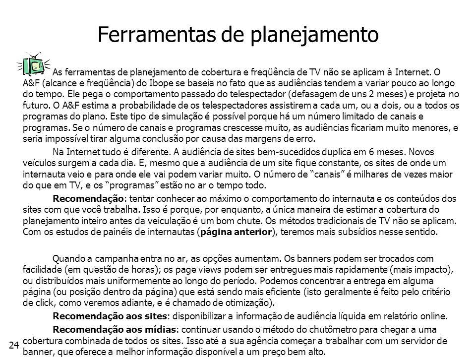 24 Ferramentas de planejamento As ferramentas de planejamento de cobertura e freqüência de TV não se aplicam à Internet.