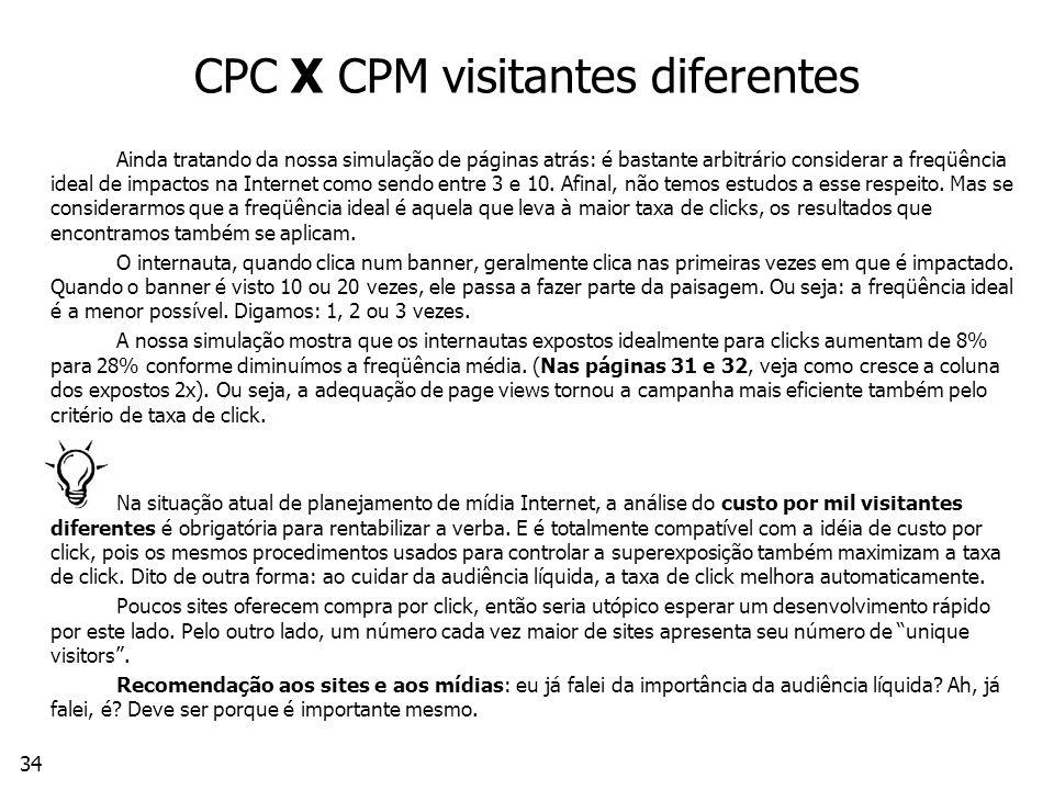 34 CPC X CPM visitantes diferentes Ainda tratando da nossa simulação de páginas atrás: é bastante arbitrário considerar a freqüência ideal de impactos na Internet como sendo entre 3 e 10.