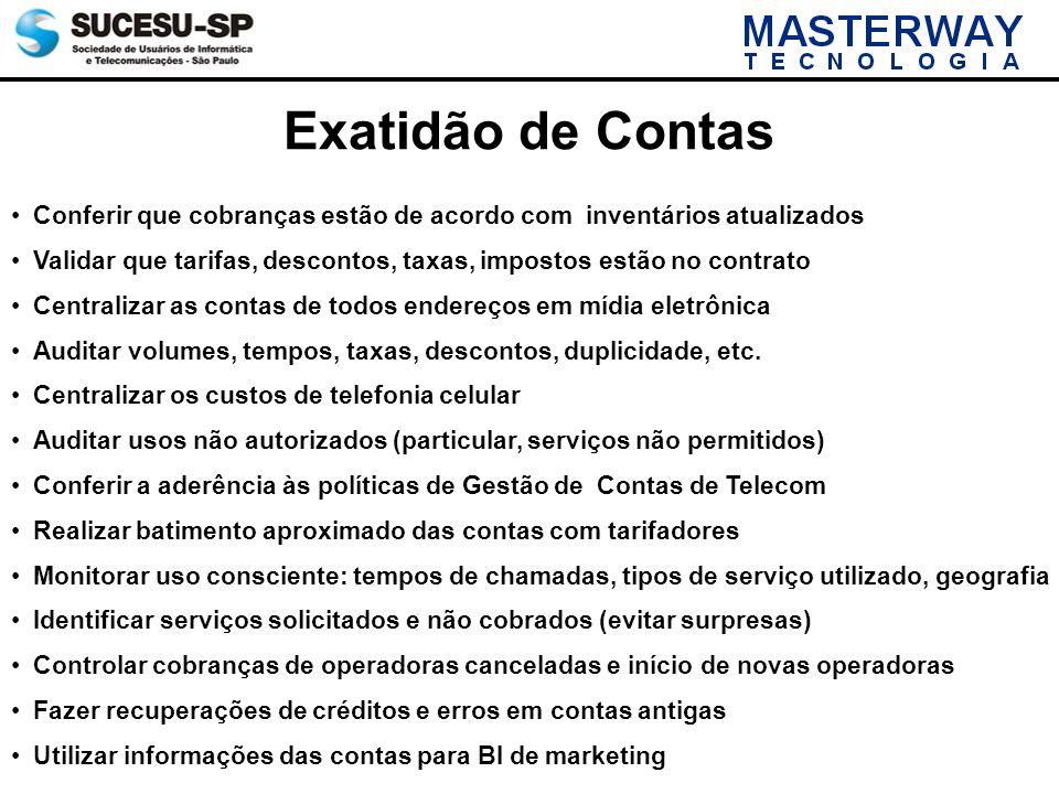 Exatidão de Contas Conferir que cobranças estão de acordo com inventários atualizados Validar que tarifas, descontos, taxas, impostos estão no contrat