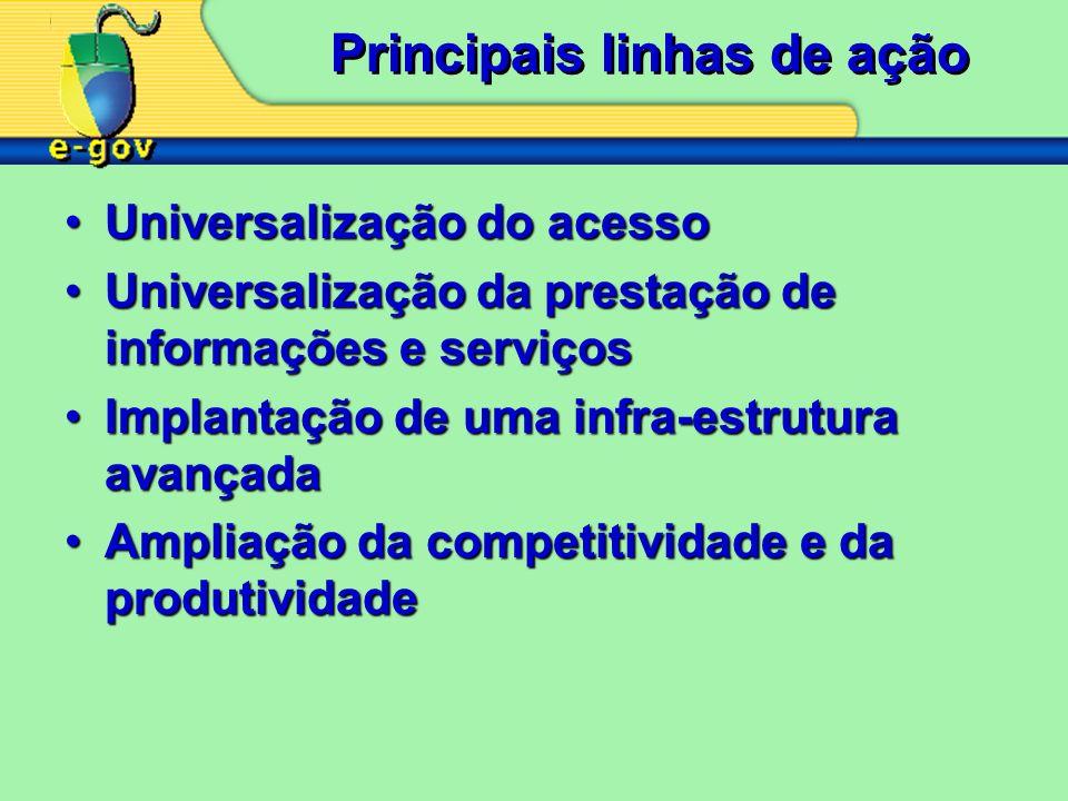 Principais linhas de ação Universalização do acessoUniversalização do acesso Universalização da prestação de informações e serviçosUniversalização da