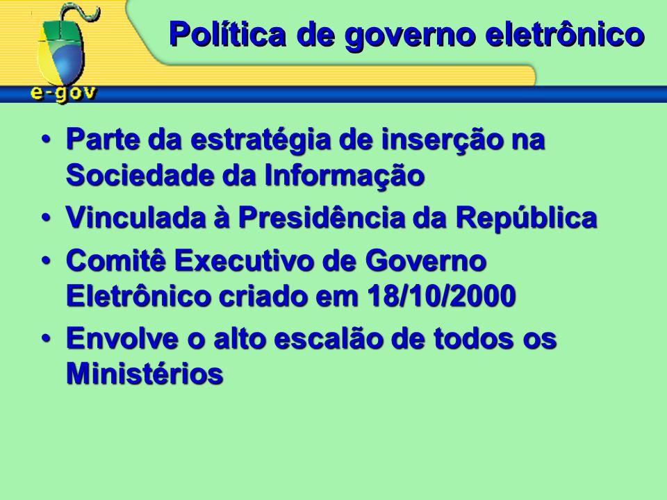 Política de governo eletrônico Parte da estratégia de inserção na Sociedade da InformaçãoParte da estratégia de inserção na Sociedade da Informação Vi
