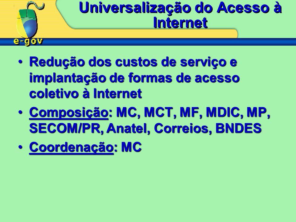 Universalização do Acesso à Internet Redução dos custos de serviço e implantação de formas de acesso coletivo à InternetRedução dos custos de serviço e implantação de formas de acesso coletivo à Internet Composição: MC, MCT, MF, MDIC, MP, SECOM/PR, Anatel, Correios, BNDESComposição: MC, MCT, MF, MDIC, MP, SECOM/PR, Anatel, Correios, BNDES Coordenação: MCCoordenação: MC