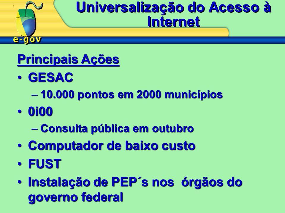 Universalização do Acesso à Internet Principais Ações GESACGESAC –10.000 pontos em 2000 municípios 0i000i00 –Consulta pública em outubro Computador de