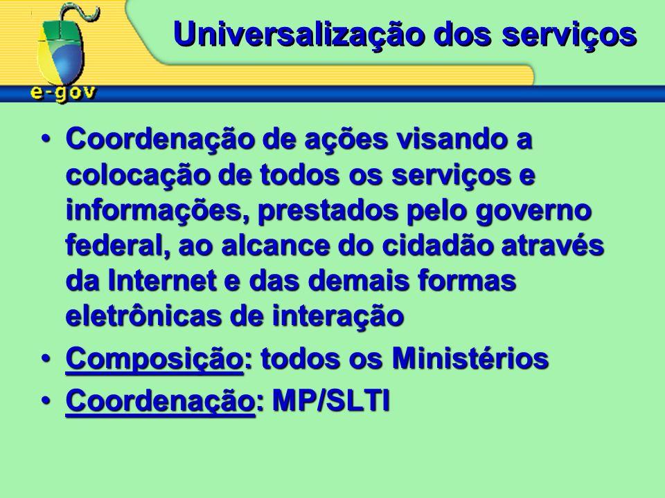 Universalização dos serviços Coordenação de ações visando a colocação de todos os serviços e informações, prestados pelo governo federal, ao alcance d