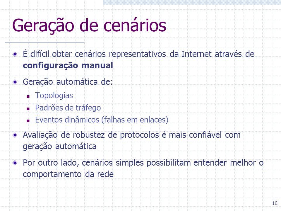 10 Geração de cenários É difícil obter cenários representativos da Internet através de configuração manual Geração automática de: Topologias Padrões d