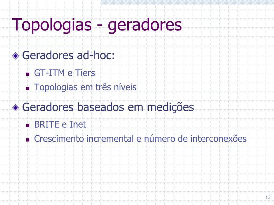 13 Topologias - geradores Geradores ad-hoc: GT-ITM e Tiers Topologias em três níveis Geradores baseados em medições BRITE e Inet Crescimento increment