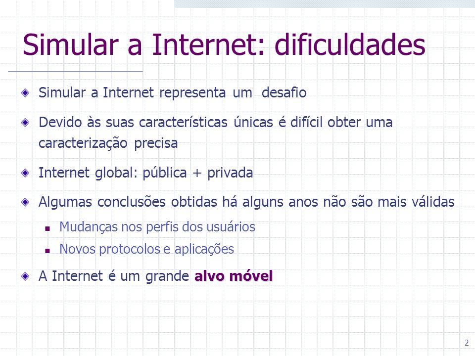 2 Simular a Internet: dificuldades Simular a Internet representa um desafio Devido às suas características únicas é difícil obter uma caracterização p