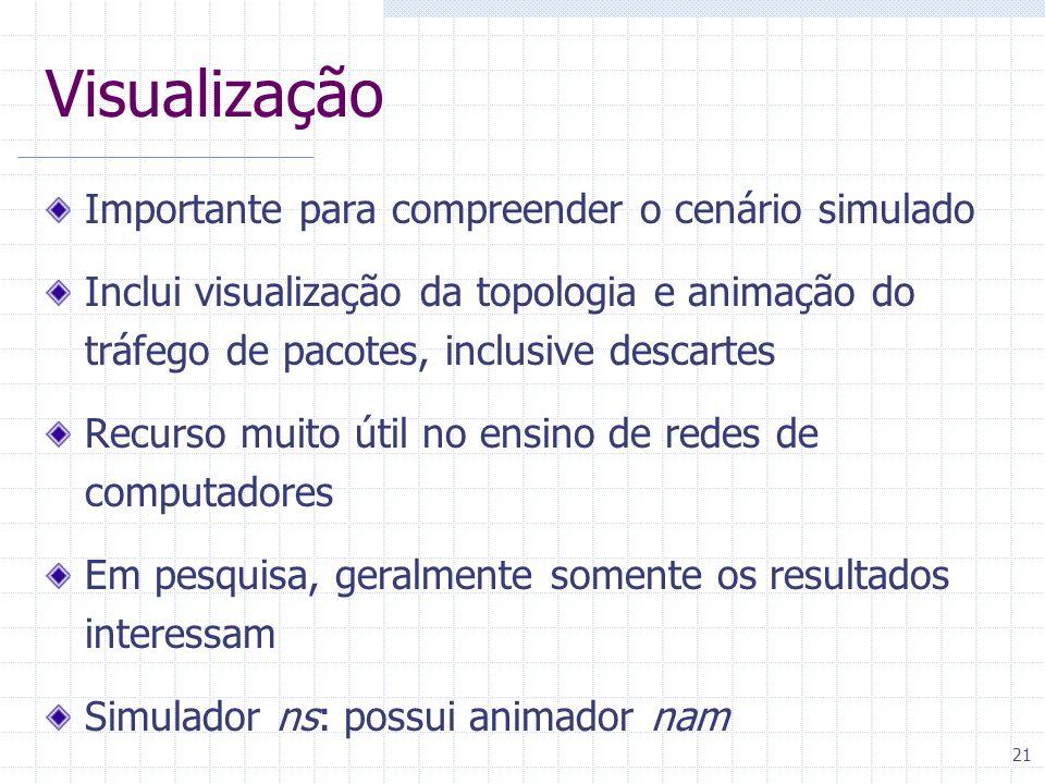 21 Visualização Importante para compreender o cenário simulado Inclui visualização da topologia e animação do tráfego de pacotes, inclusive descartes