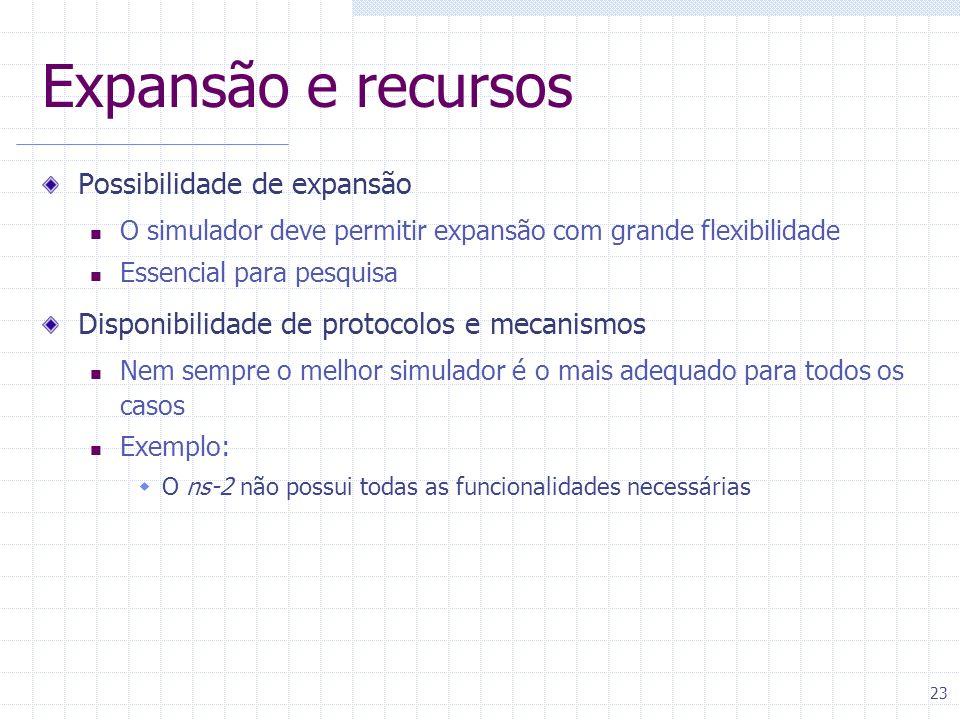 23 Expansão e recursos Possibilidade de expansão O simulador deve permitir expansão com grande flexibilidade Essencial para pesquisa Disponibilidade d