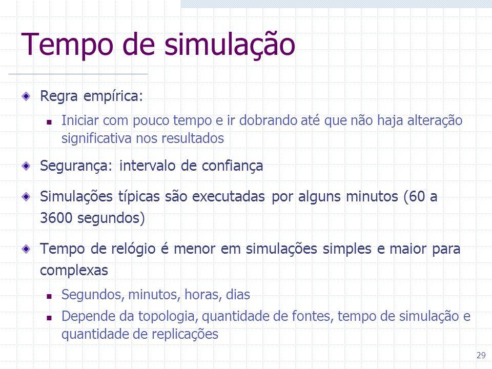 29 Tempo de simulação Regra empírica: Iniciar com pouco tempo e ir dobrando até que não haja alteração significativa nos resultados Segurança: interva