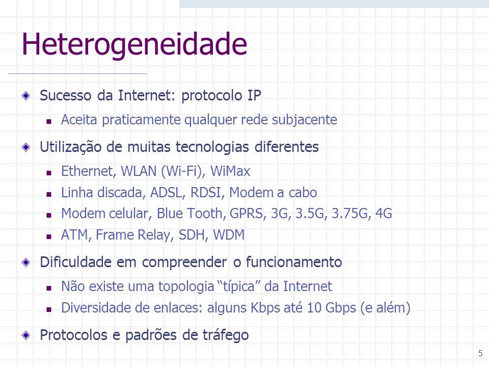 5 Heterogeneidade Sucesso da Internet: protocolo IP Aceita praticamente qualquer rede subjacente Utilização de muitas tecnologias diferentes Ethernet,