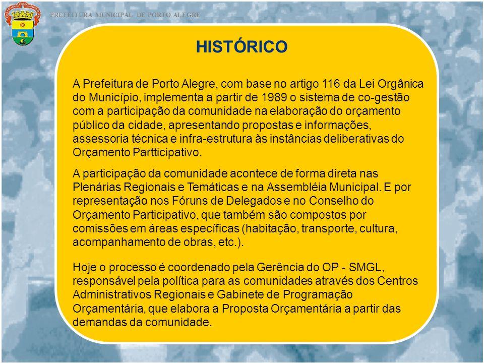 HISTÓRICO A Prefeitura de Porto Alegre, com base no artigo 116 da Lei Orgânica do Município, implementa a partir de 1989 o sistema de co-gestão com a
