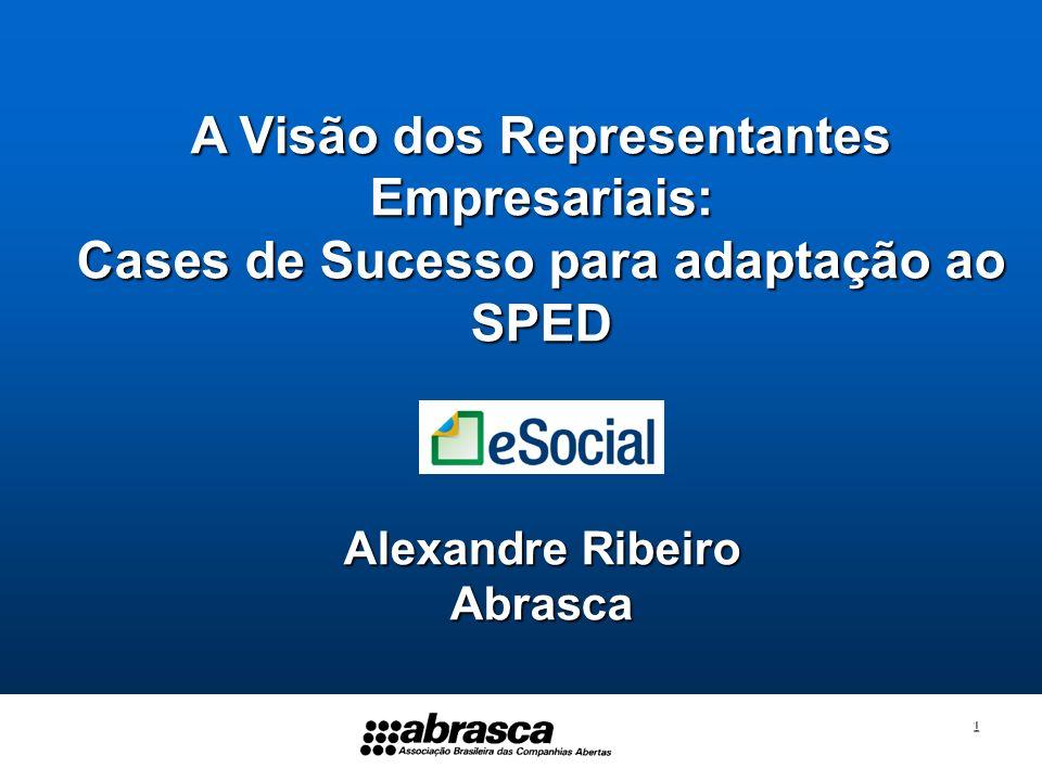 1 A Visão dos Representantes Empresariais: Cases de Sucesso para adaptação ao SPED Alexandre Ribeiro Abrasca