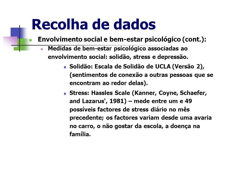 Recolha de dados Envolvimento social e bem-estar psicológico (cont.): Medidas de bem-estar psicológico associadas ao envolvimento social: solidão, str