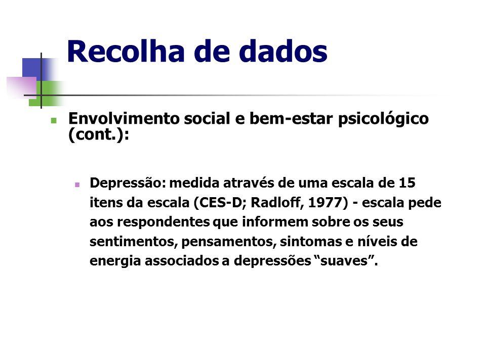 Recolha de dados Envolvimento social e bem-estar psicológico (cont.): Depressão: medida através de uma escala de 15 itens da escala (CES-D; Radloff, 1