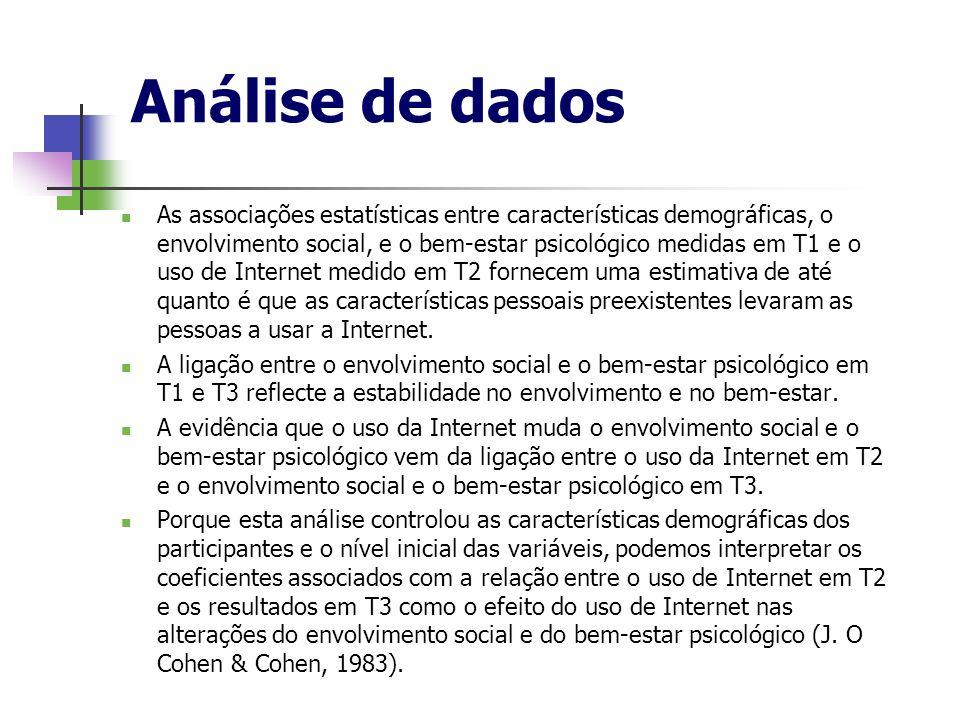 Análise de dados As associações estatísticas entre características demográficas, o envolvimento social, e o bem-estar psicológico medidas em T1 e o us